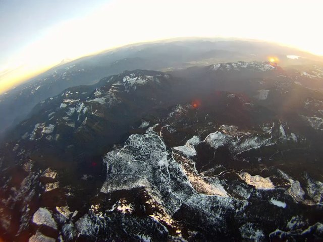 Sunset flight over Mt. Rainier & Mt. St. Helens