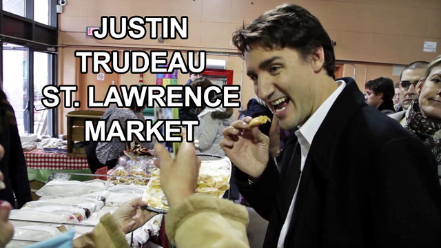 Justin Trudeau, Kathleen Wynne, Bob Rae, and Chrystia Freeland at The St. Lawrence Market