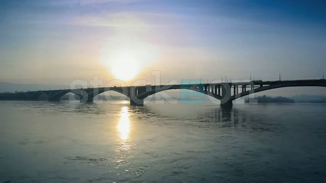 The Bridge Over the Yenisei River, Krasnoyarsk, Russia - Stock Video Footage
