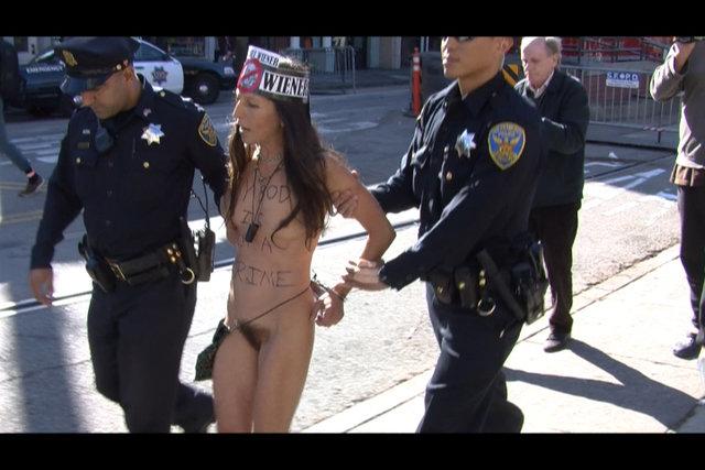 walking down the street nude