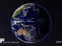回る地球 CG 地球の自転イメージ 昼 CG