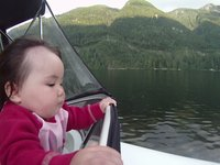 Anzu Pape Driving a Boat at 8 months