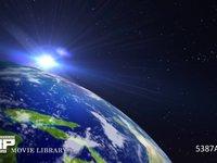 地球の夜明け アップ CG 地球の日の出イメージ 部分アップ CG