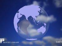 地球イメージ CG 地球イメージCG+雲の微速度撮影