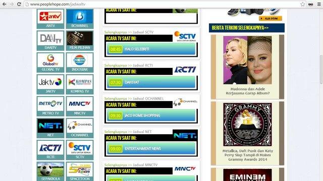 Jadwal TV 15 Januari 2014