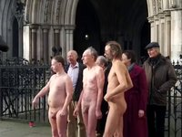 Naked Protest Outside Of The Royal Courts Of Justice,London