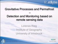Frostbyte L Rieg: Gravitative Processes and Permafrost - Detection and monitoring based on remote sensing data