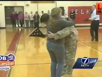 A Soldier Surprises His Siter When He Comes Home