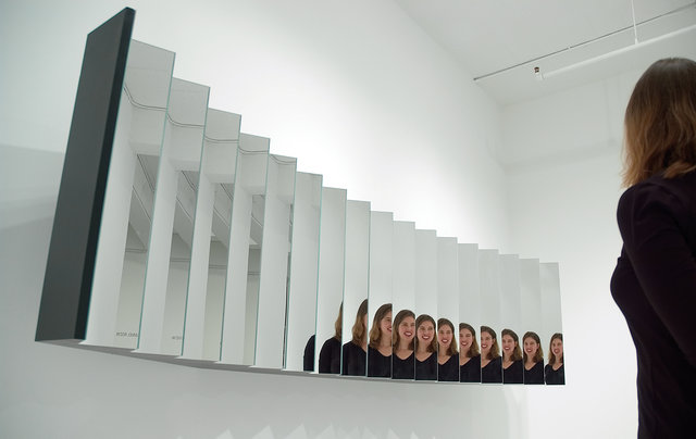 """Self Centered Mirror"" (2001) by Daniel Rozin"
