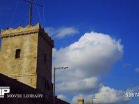 バルセロナ モンジュイック城と雲の流れ 微速度撮影 スペイン バルセロナ モンジュイック城