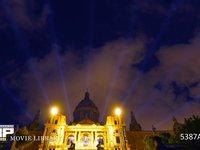 バルセロナ カタルーニャ美術館 雲の流れ 夜景 微速度撮影 スペイン バルセロナ カタルーニャ美術館の夜景