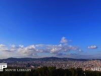 バルセロナ モンジュイック城からの眺め夕暮れ 微速度撮影 スペイン バルセロナ モンジュイック城よりバルセロナの町を望む 夕暮れ