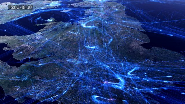 European Air Traffic in 24 Hour Period Visualized