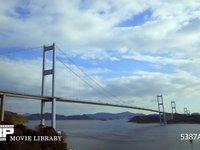 来島海峡大橋と雲の流れ 微速度撮影 来島海峡の速い潮流がよくわかります