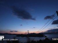 来島海峡大橋の夜明け 微速度撮影 糸山公園展望台から見た来島海峡大橋(しまなみ海道)