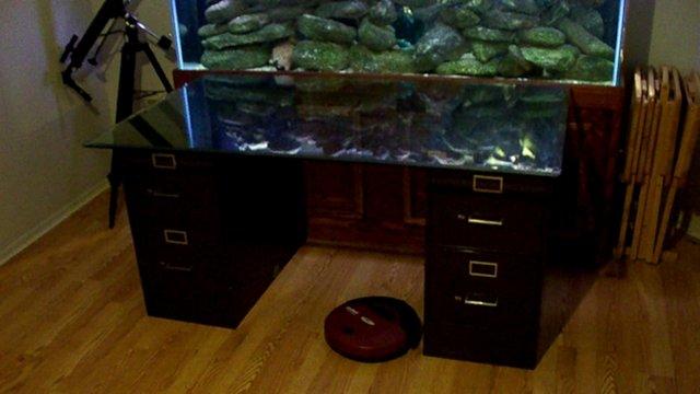 Scrap video desk by fish tank on vimeo for Fish tank desk
