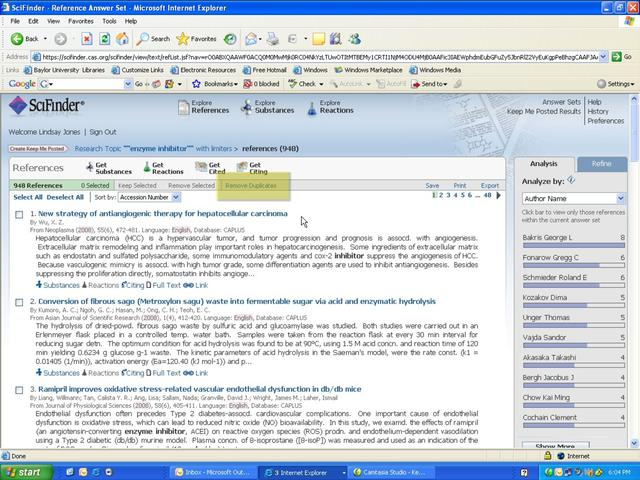SciFinder Web Version: Researching by Keyword