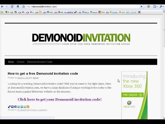 Free Demonoid Invitation Code Generator Torrent Download