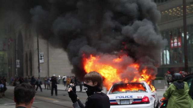 G20 - Police Car on Fire - King and Bay