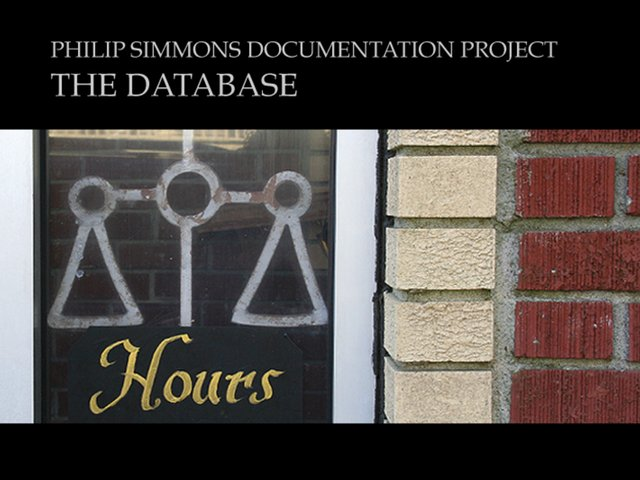 DATABASE-Philip Simmons Documentation Project
