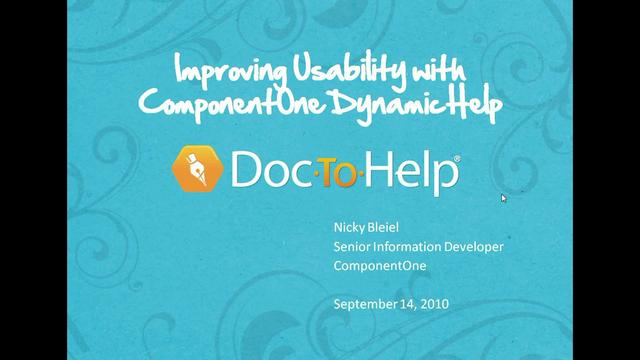 Improving Usability with ComponentOne Dynamic Help