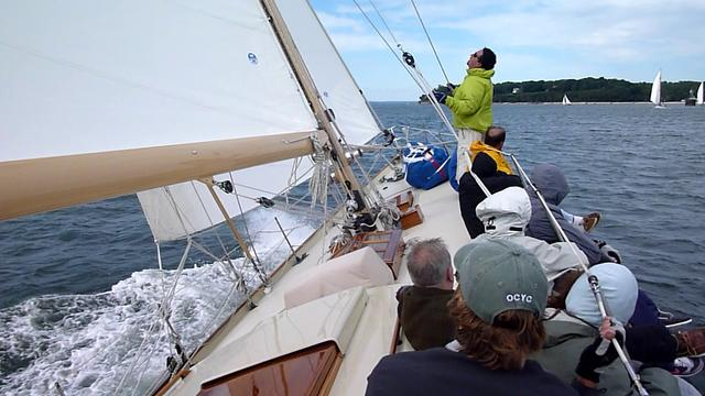 Caper chases the fleet in 20+ kts-2010 Oyster Bay Fall Classic