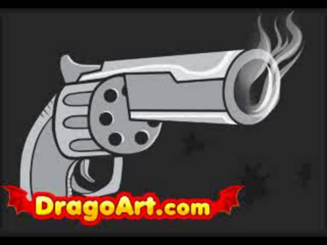 How to draw an easy gun, step by step